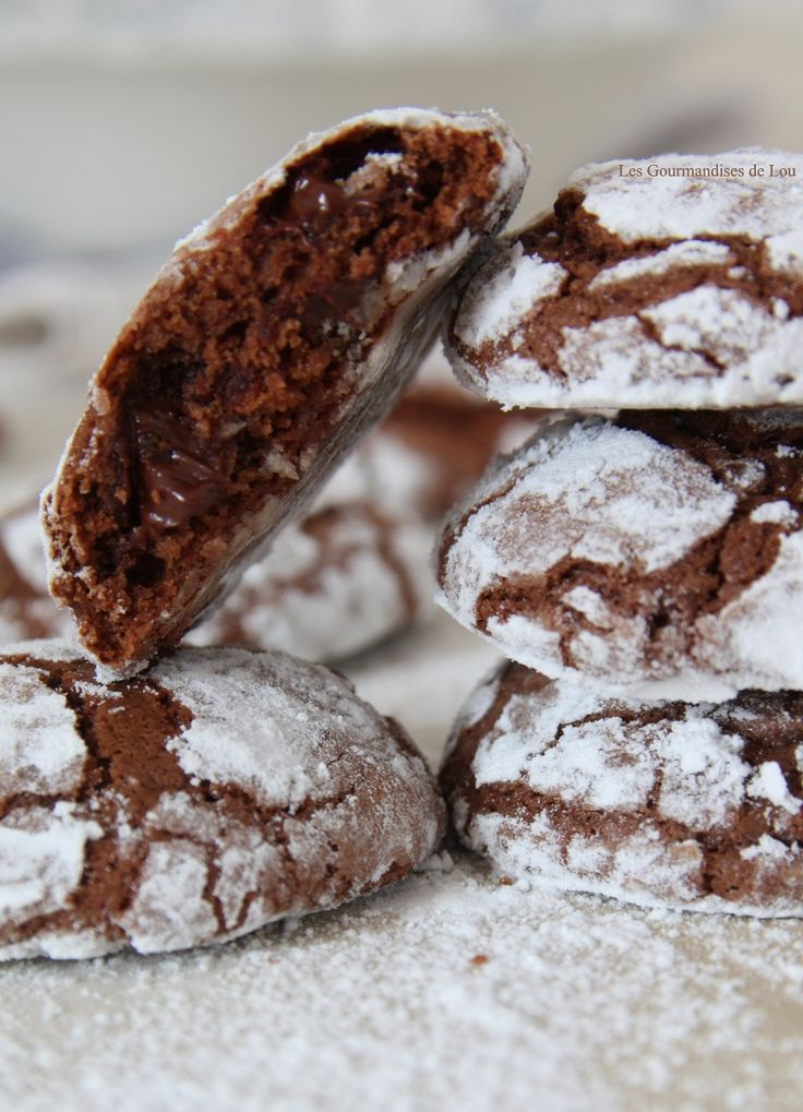 Craquelés au chocolat et lait concentré ~ Chocolate and Condensed Milk Crackle Cookies