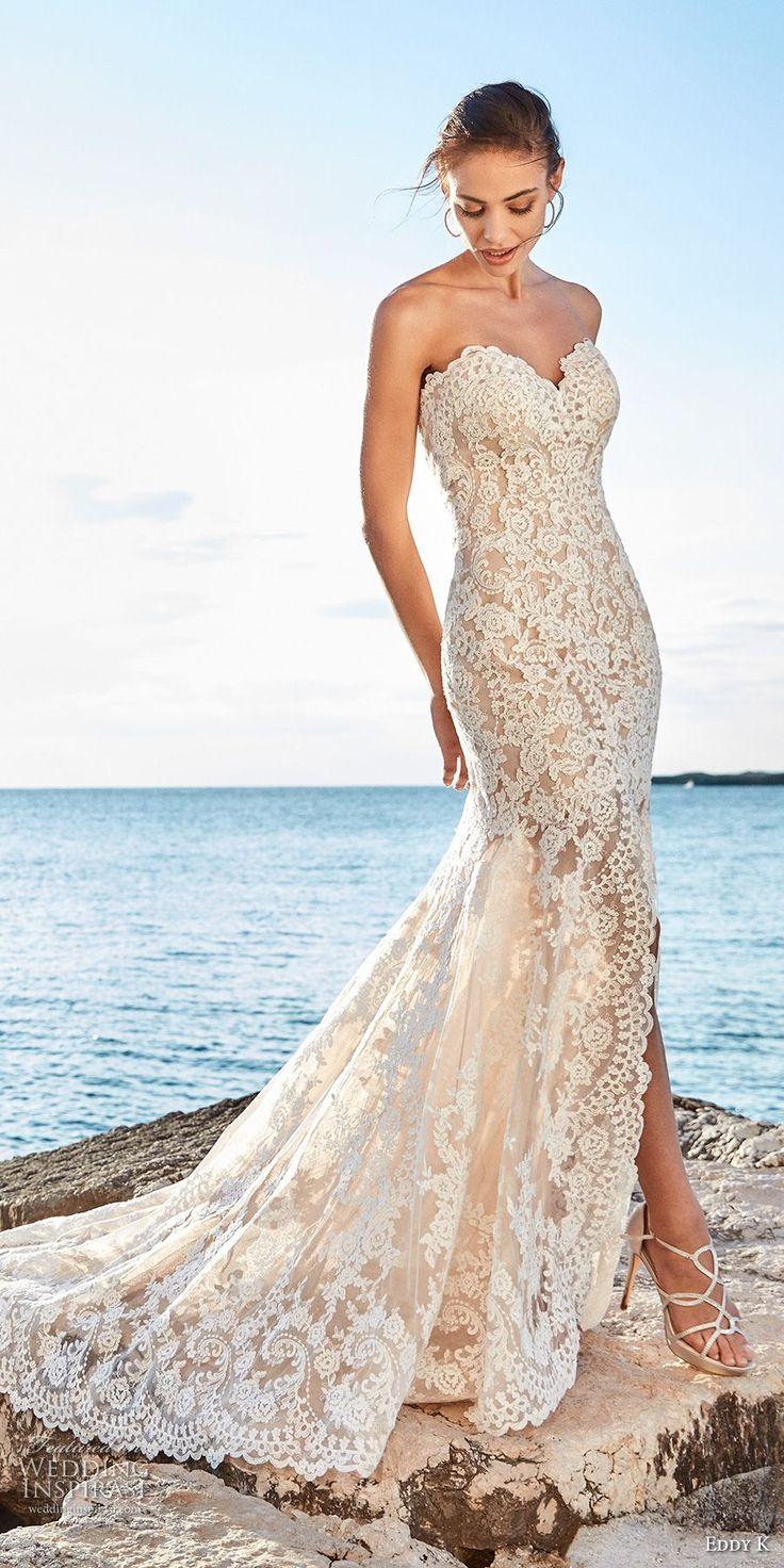 eddy k 2018 bridal strapless sweetheart neckline full embellishment elegant sexy side slit fit and flare wedding dress chapel train (elena) mv