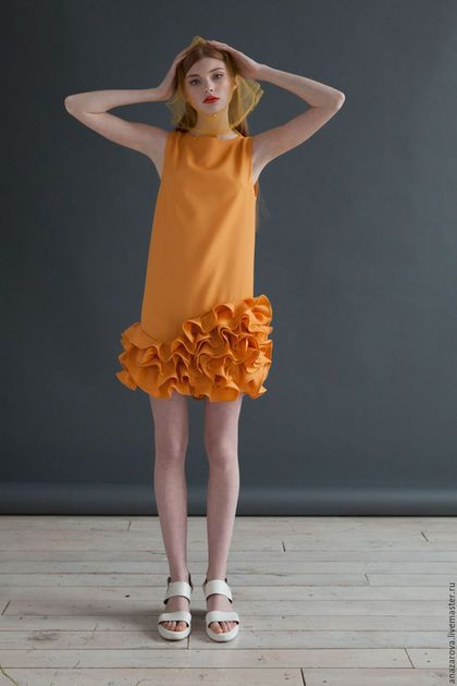 Evening dress / Платья ручной работы. Ярмарка Мастеров - ручная работа. Купить Платье с юбкой из воланов. Handmade. Оранжевый, нарядное платье, волан