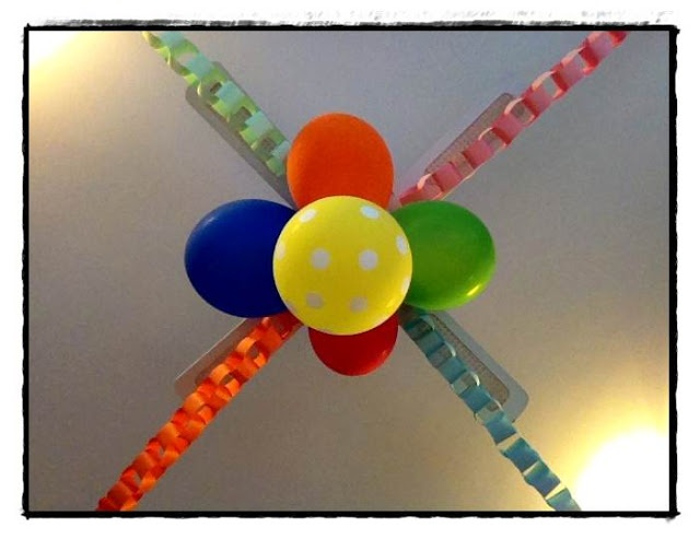 Arty crafty rainbow birthday party - balloons and paper chain ...