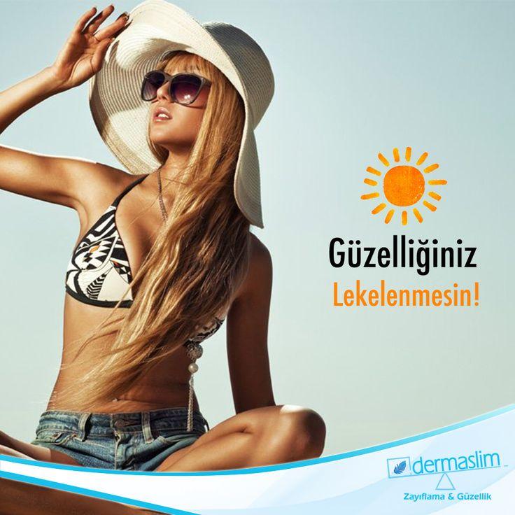 """Dermaslim ile lekelere karşı etkili yoğun bakım, siz de bu güneşli günlerde """"Güzelliğiniz Lekelenmesin"""" isterseniz özel bakımlarla cildinizi koruma altına alın! Detaylı bilgi için 📞 0216 688 00 26"""
