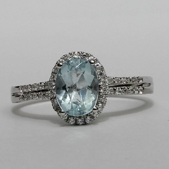 Genuine Aquamarine Ring Vintage 1.20 cts Halo  by KimberlyHahn, $279.00