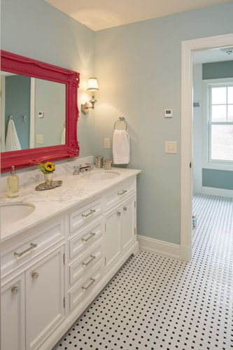 Perfect pop of color for a girl's bathroom!