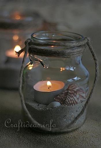 Recycling Craft - Maritime Tea Light Jars
