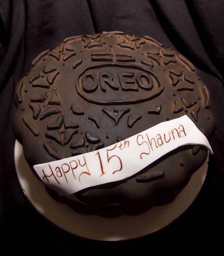 Oreo style cookie birthday cake