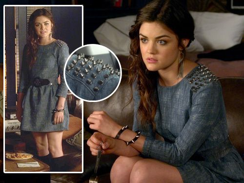 PLL Aria / denim studded shoulders dress, belt / Season 2