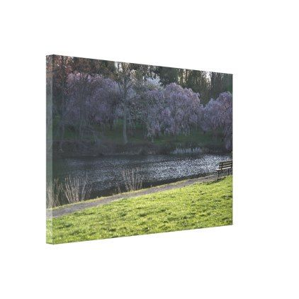 "Beautiful Pink Flowered Trees by Pond NJ 36""x24"" Canvas Print - beautiful gift idea present diy cyo"