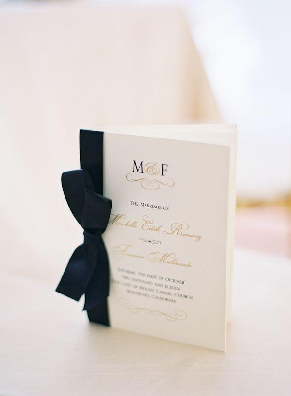 Elegant black and gold wedding ceremony program {Photo by Michelle Warren via Project Wedding}