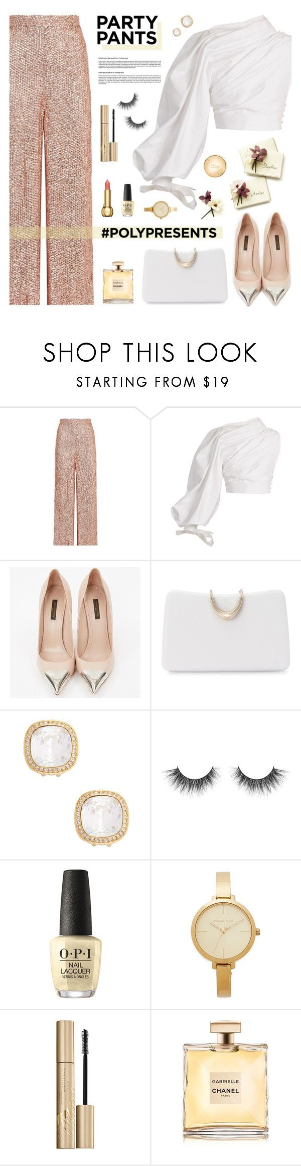 """#PolyPresents: Fancy Pants"" by tamara-p ❤ liked on Polyvore featuring Temperley London, Jacquemus, Louis Vuitton, SOKO, Kenneth Jay Lane, OPI, Michael Kors, Stila, Christian Dior and contestentry"