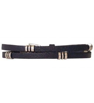 JT Two Turns Navy Blue Leather Bracelet With Silver Metals