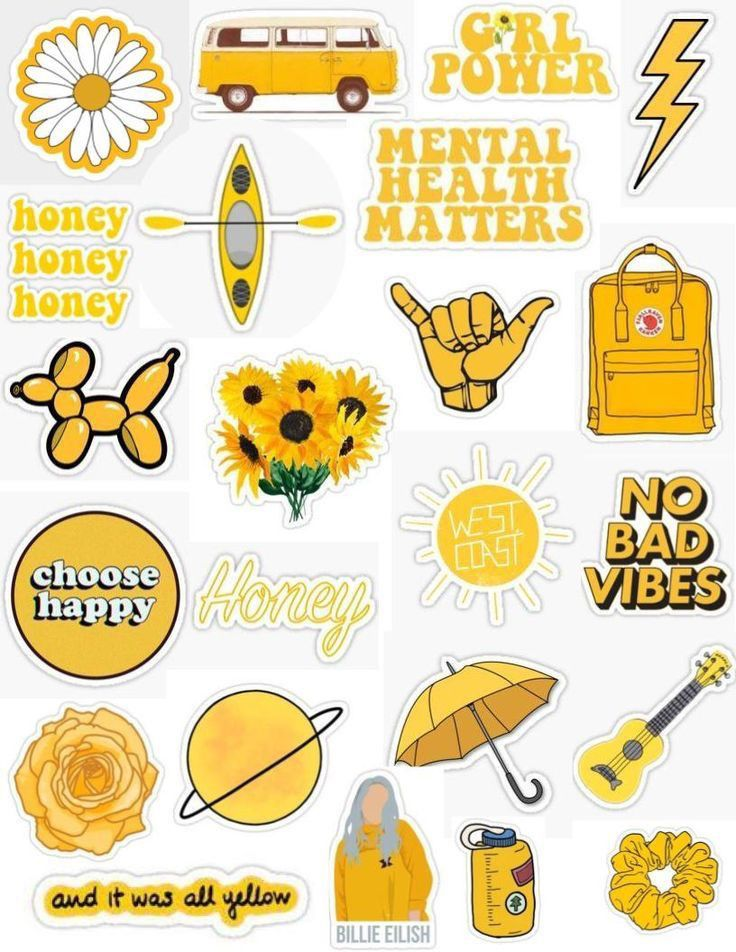 photo relating to Tumblr Stickers Printable known as Pin via chloe helmreich upon Yellow inside 2019 Aesthetic