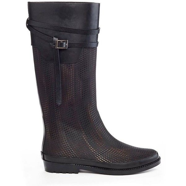 Henry Ferrera Ambiance Women's Water-Resistant Rain Boots ($83) ❤ liked on Polyvore featuring shoes, boots, black, wellington boots, rubber boots, black slip-on shoes, black pull on boots and black wellington boots
