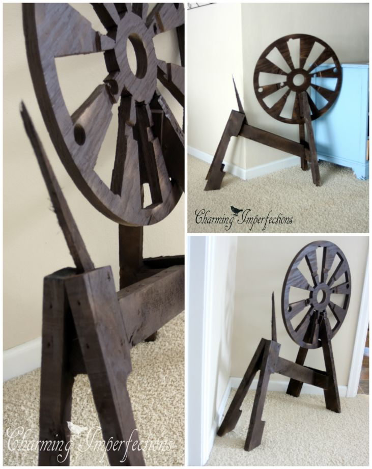 DIY Sleeping Beauty Spinning wheel prop. Put together by pallets and an electrical spool.