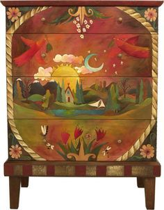 "Sticks creates this artistic one-of-a-kind dresser constructed of hard wood. Hand drawn whimsical designs are burnt in, and then painted. * Size: 20""D. x 36""W. x 48""H. * Signed, Dated Sticks furniture"