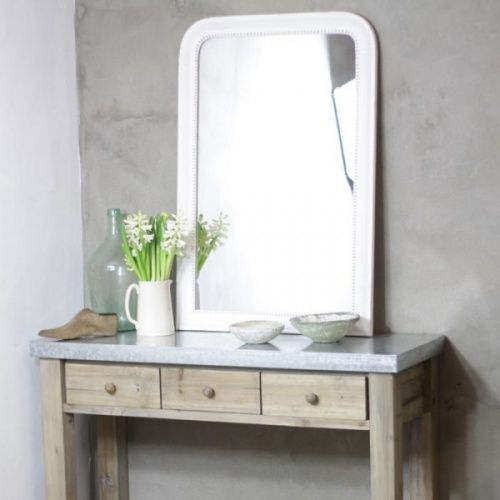Large white vintage style mirror