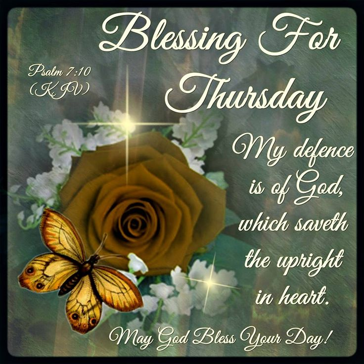 Blessing For Thursday. Psalm 7.10- May God Bless Your Day!!