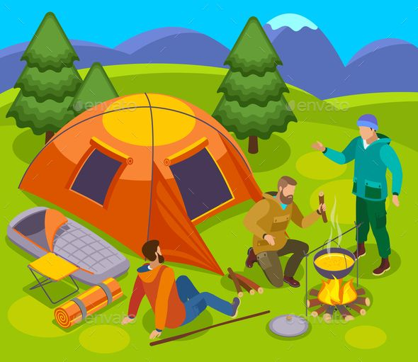 Pitch Camp Outdoor Composition | Illustration art, Illustration, Wild nature