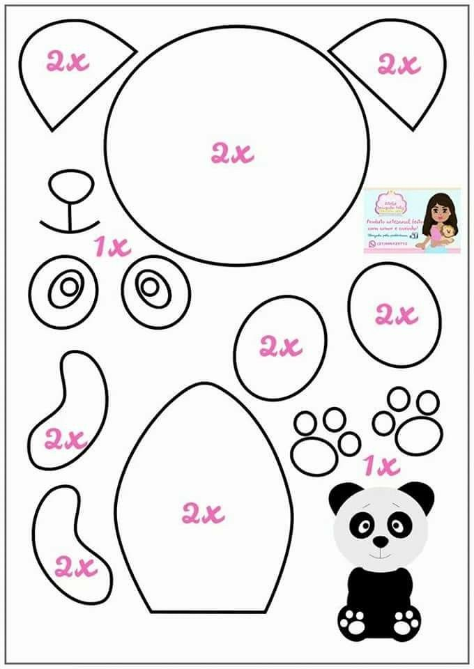 Felt Ornament Panda Pattern Panda Craft Felt Patterns