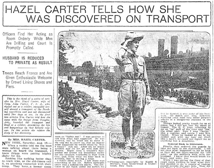 "Article about Hazel Carter, who disguised herself as a man to go fight in WWI, published in the Seattle Daily Times newspaper (Seattle, Washington), 19 August 1917. Read more on the GenealogyBank blog: ""The WWI Soldier Girl: Hazel Blauser Carter."" http://blog.genealogybank.com/the-wwi-soldier-girl-hazel-blauser-carter.html"