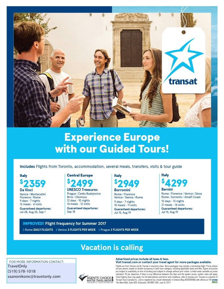 Italy, Central Europe packages from $2359 #YYZ departures www.sommany.travelonly.com #GuidedTours #ExperienceTransat