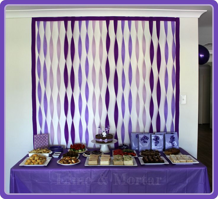 Purple Streamer Backdrop - effective way to add colour