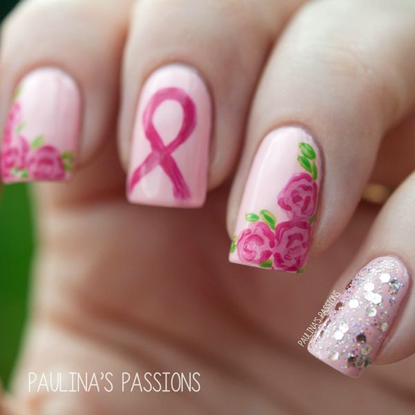 breast cancer nail art design | Breast Cancer Awareness Nail Art