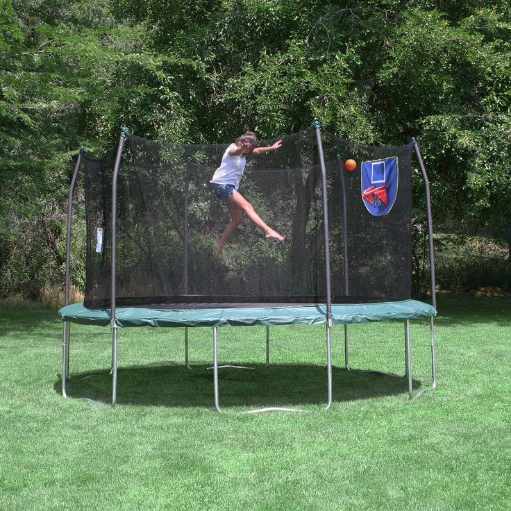 12ft Round Jump N' Dunk Trampoline with Basketball Hoop