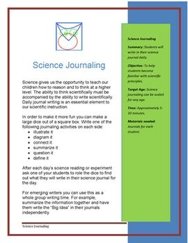 Science Journaling  -  Summary: Students will write in their science journal daily.  Objective: To help students become familiar with scientific principles. Target Age: Science journaling can be scaled for any age. Time: Approximately 5-10 minutes.  Materials needed: Journals for each student.   http://www.teacherspayteachers.com/Product/Science-Journaling-179775