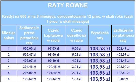 Raty równe. Źródło: www.comperia.pl
