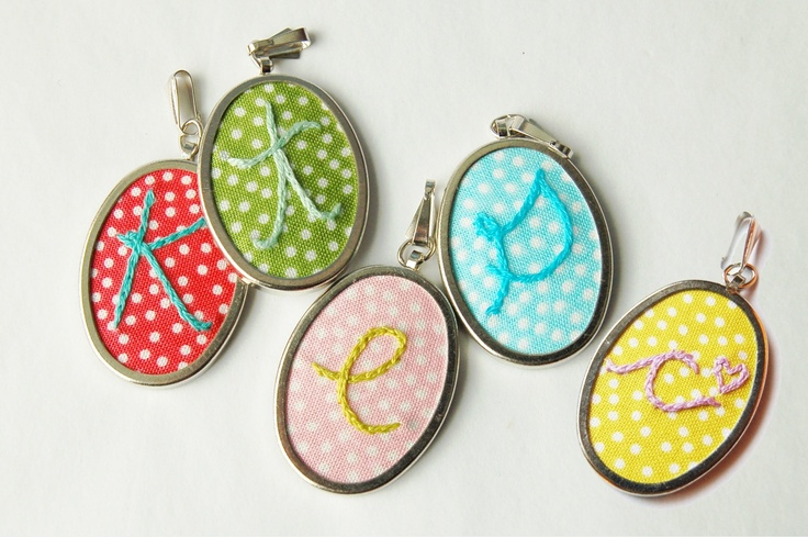 Embroidered Initial Fabric Pendant. NO CHAIN. Personalized Embroidery. by Merriweather Council.