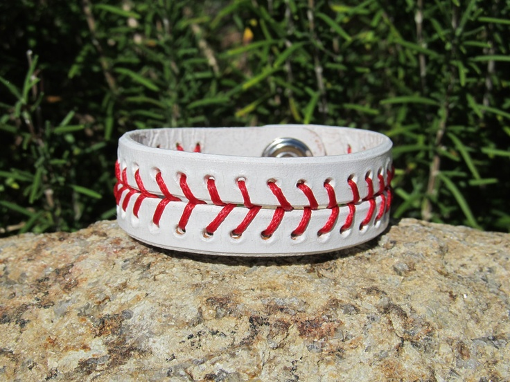 Hand Painted Leather Bracelet Cuff Baseball by SarahsArtistry