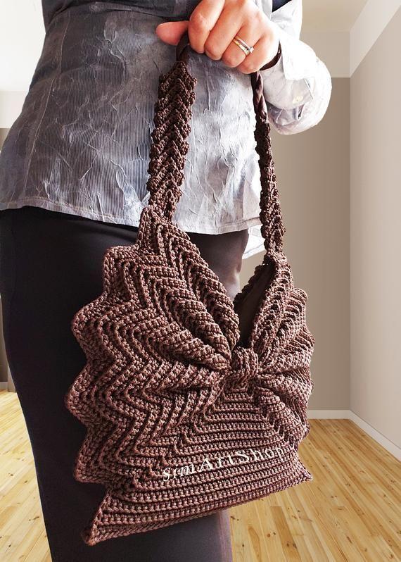 Crochet handbagCrochet toteVintage style purseRetro | Etsy