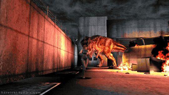 T-Rex chases Regina. Dino Crisis (1999) PSX - Horror Games