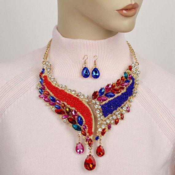 Formal crystal statement necklace Rhinestone Bib