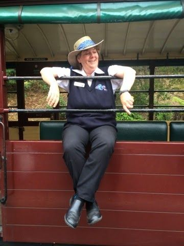 Our Gray Line driver Julie on board the Puffing Billy train - FIT_TRAVELS