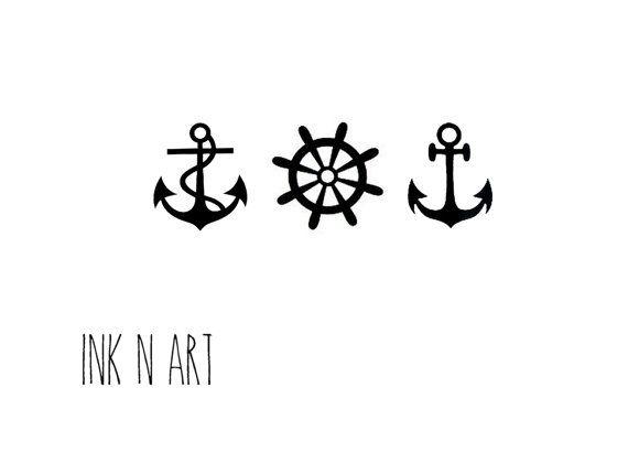 3pcs Anchor Set - InknArt Temporary Tattoo - wrist quote tattoo body sticker fake tattoo wedding tattoo small tattoo