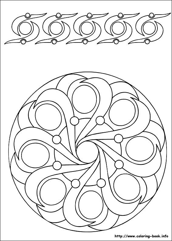 Mandalas coloring picture Fill sections with different patterns