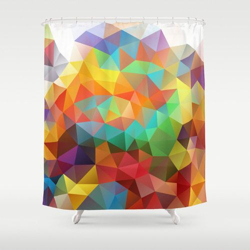 Shower Curtain Art Curtain Triangles Abstract Curtain by NikaLim