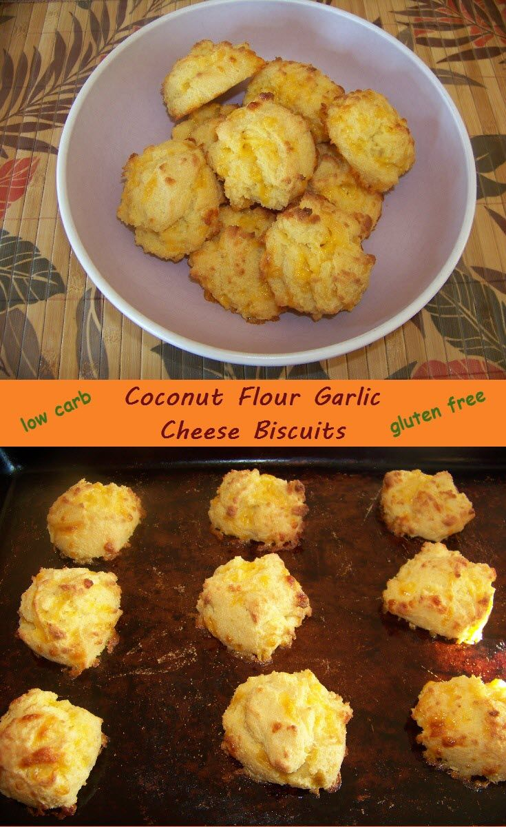 These low carb garlic cheese biscuits made with coconut flour are sure to hit the spot when missing bread. Gluten free! #keto #LCHF