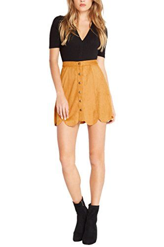 Womens Fashion Trendy Faux Suede Scalloped Hem Button down High Waist Skirt MUS S   Special Offer: $28.00      444 Reviews Keep up this season and grab your share of faux suede with this lush scalloped hem skirt. The drapey faux-suede fabric has a soft finish for comfortable wearability....