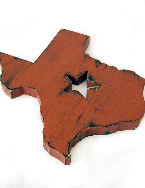 Texas State With Star Cutout In Brick Pine Wood Sign Wall Decor Rustic  Americana Cottage Country Chic
