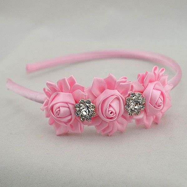 Free shipping girl satin ribbon flowers hairband silk ribbon rosettes with rhinestone headband hair accessories 100pcs/lot-in Hair Accessori...