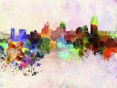 Cincinnati skyline in watercolor background via MuralsYourWay.com