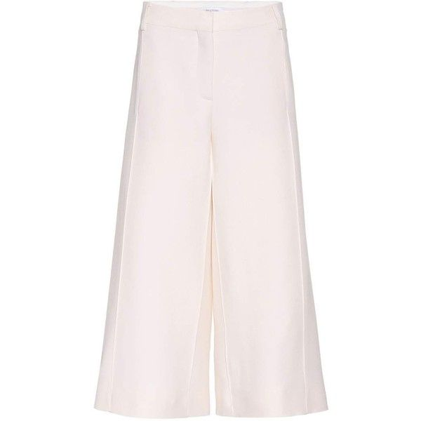 Valentino Cropped Virgin Wool and Silk Trousers (£1,055) ❤ liked on Polyvore featuring pants, capris, white, cropped pants, silk cropped pants, white trousers, white silk pants and silk pants