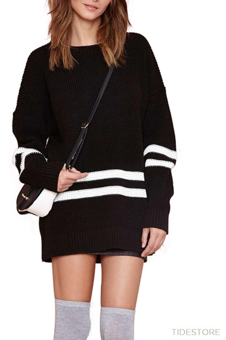 Simple Round Collar Long Sleeve Striped Sweater, Fashion Clothing Online