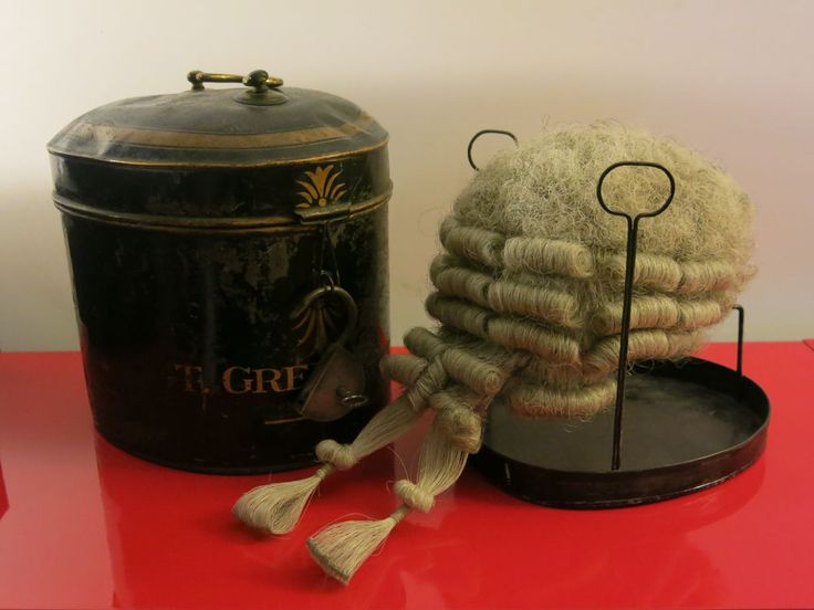Antique British Barrister Wig in metal canister  late 19th century T. Greig Esq