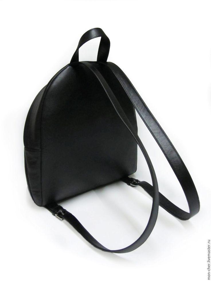 Купить Рюкзак женский кожаный - однотонный, черный, черная кожа, рюкзак женский, рюкзак кожаный