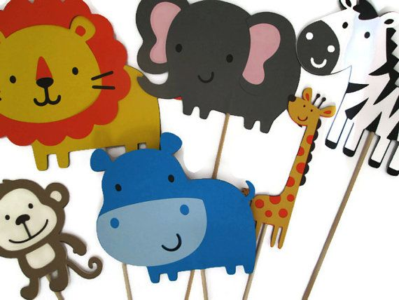 Set of 6 Oversized Safari/Zoo Centerpieces - Safari Themed, Zoo Themed, Baby Showers, Birthday Parties on Etsy, $15.00