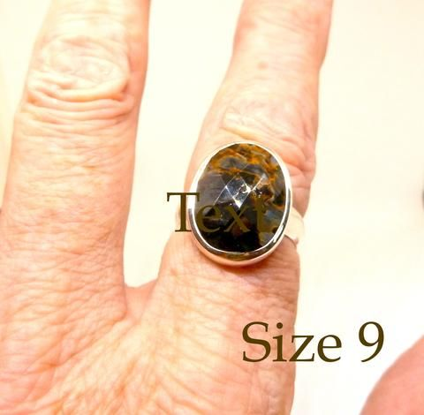 S. African  Pietersite Ring | Oval checkerboard cut | 925 Sterling Silver | US Ring Size 9 | Leo Stone | Crystal Heart Gems and Alternatives since 1986