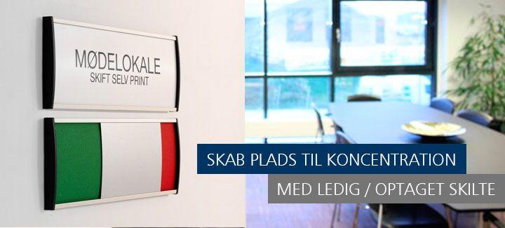 Ledig/optaget skilte kombineret med et dørskilt sender et klart og simpelt budskab